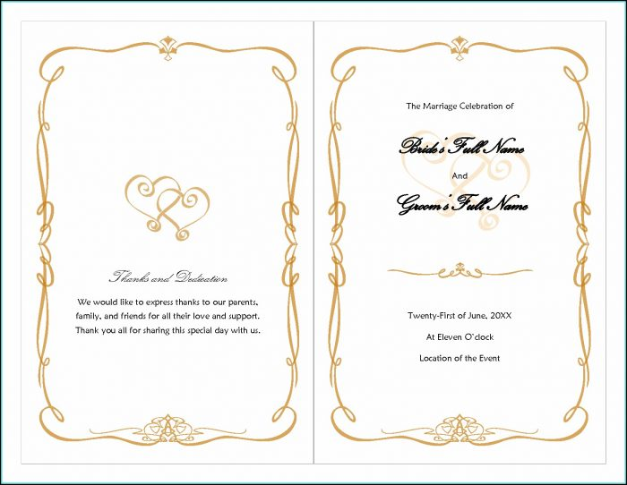 Free Wedding Program Fan Templates Microsoft Word