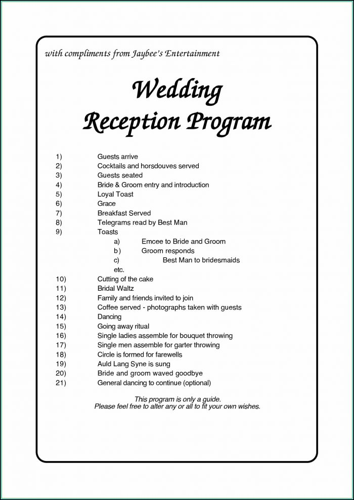 Free Wedding Reception Itinerary Template