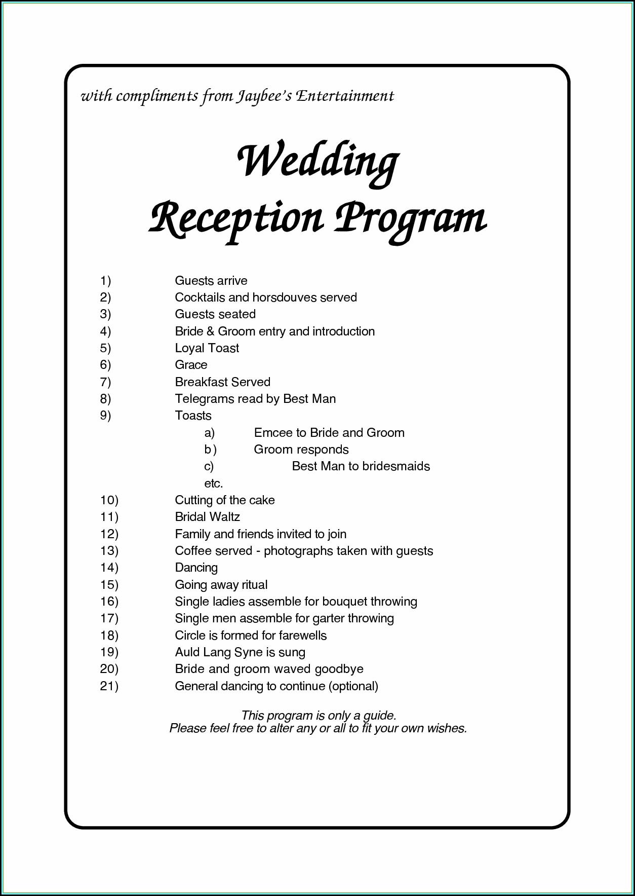 Free Wedding Reception Itinerary Template