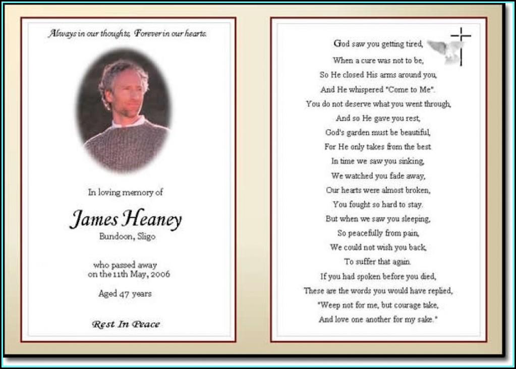 Funeral Prayer Card Template Free