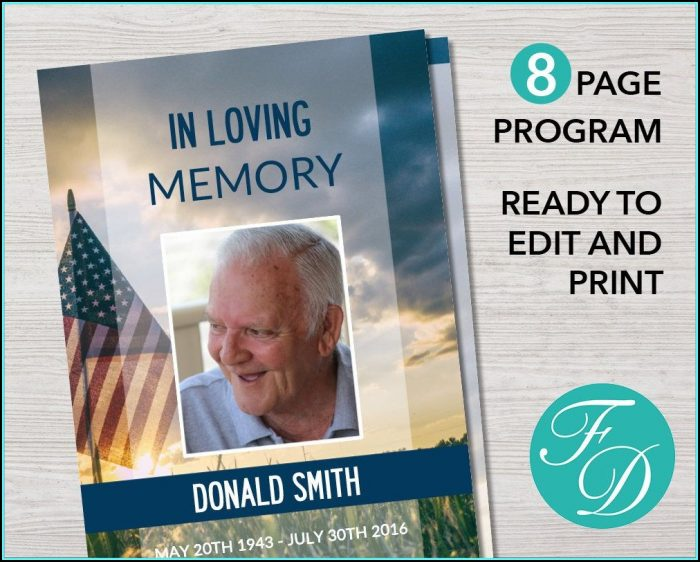 Funeral Service Program Template Pages