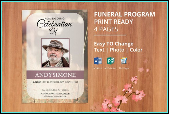 Funeral Service Program Template Publisher