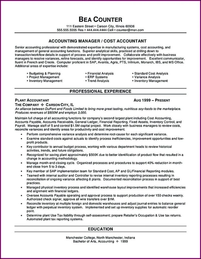 Accounts Payable Specialist Resume Format
