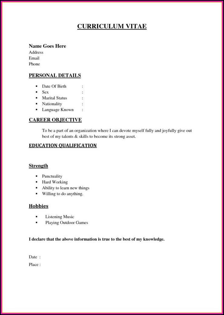 Basic Resumes Templates Free