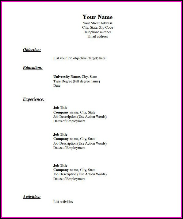 Blank Basic Resume Templates