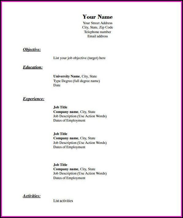 Blank Basic Resume Templates