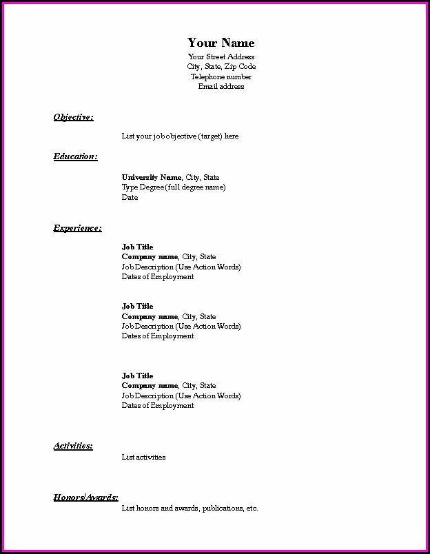 Chronological Resume Format Pdf