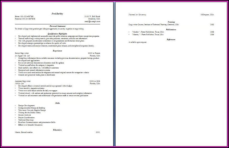 Copywriter Resume Format