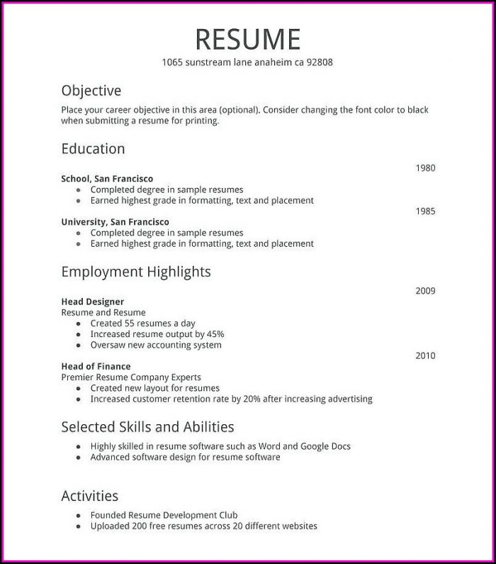 Create And Print A Free Resume