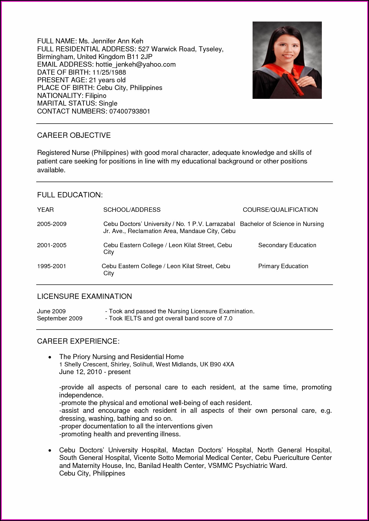 Curriculum Vitae Sample For Nurses