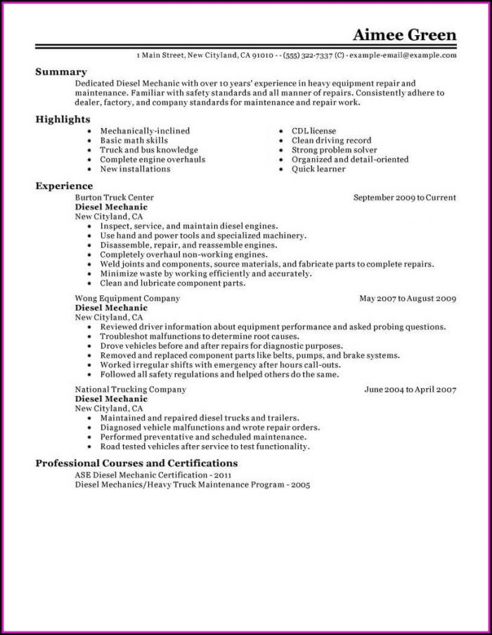 Diesel Mechanic Resume Search