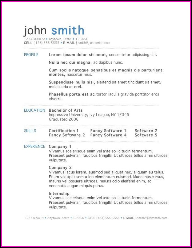 Download Free Resume Template For Microsoft Word