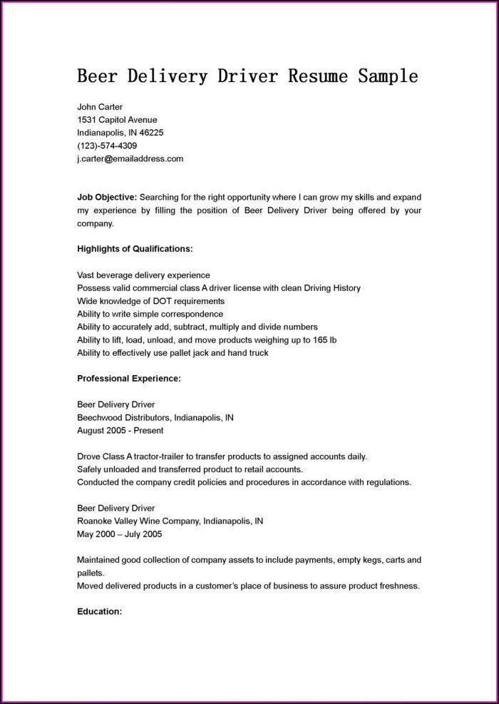 Driver Job Resume Format Pdf