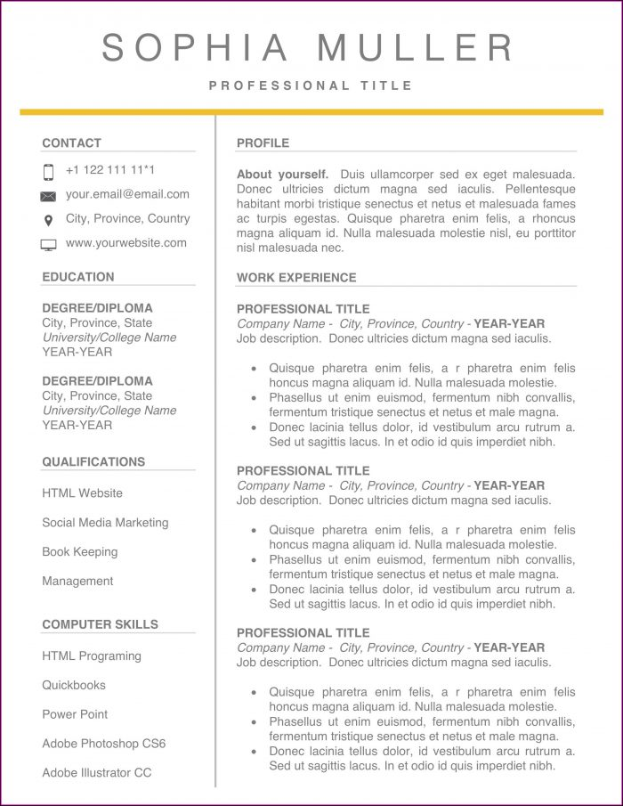 Easy Cv Template Word