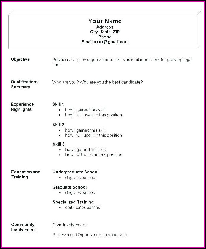 Easy Job Resume Examples