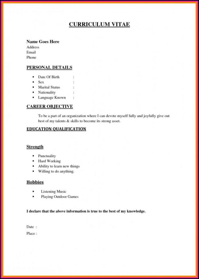 Easy Job Resume Template
