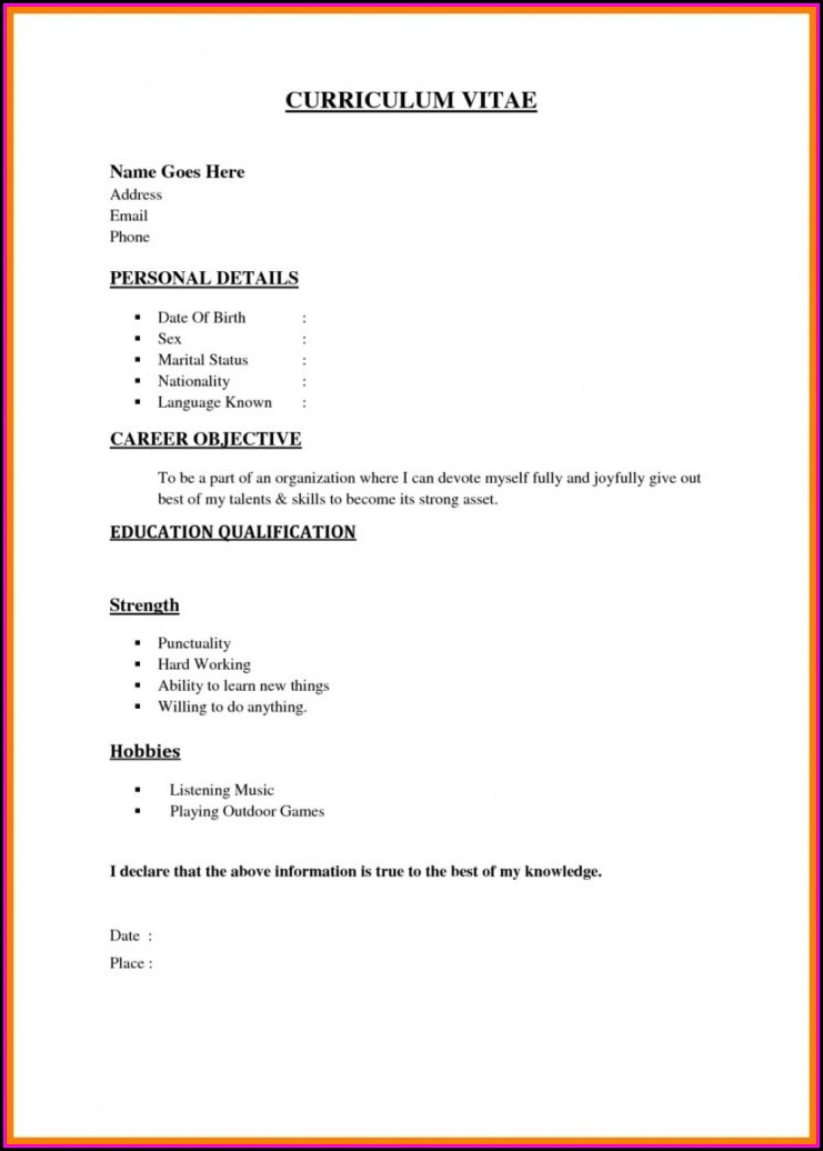 Easy Job Resume Template