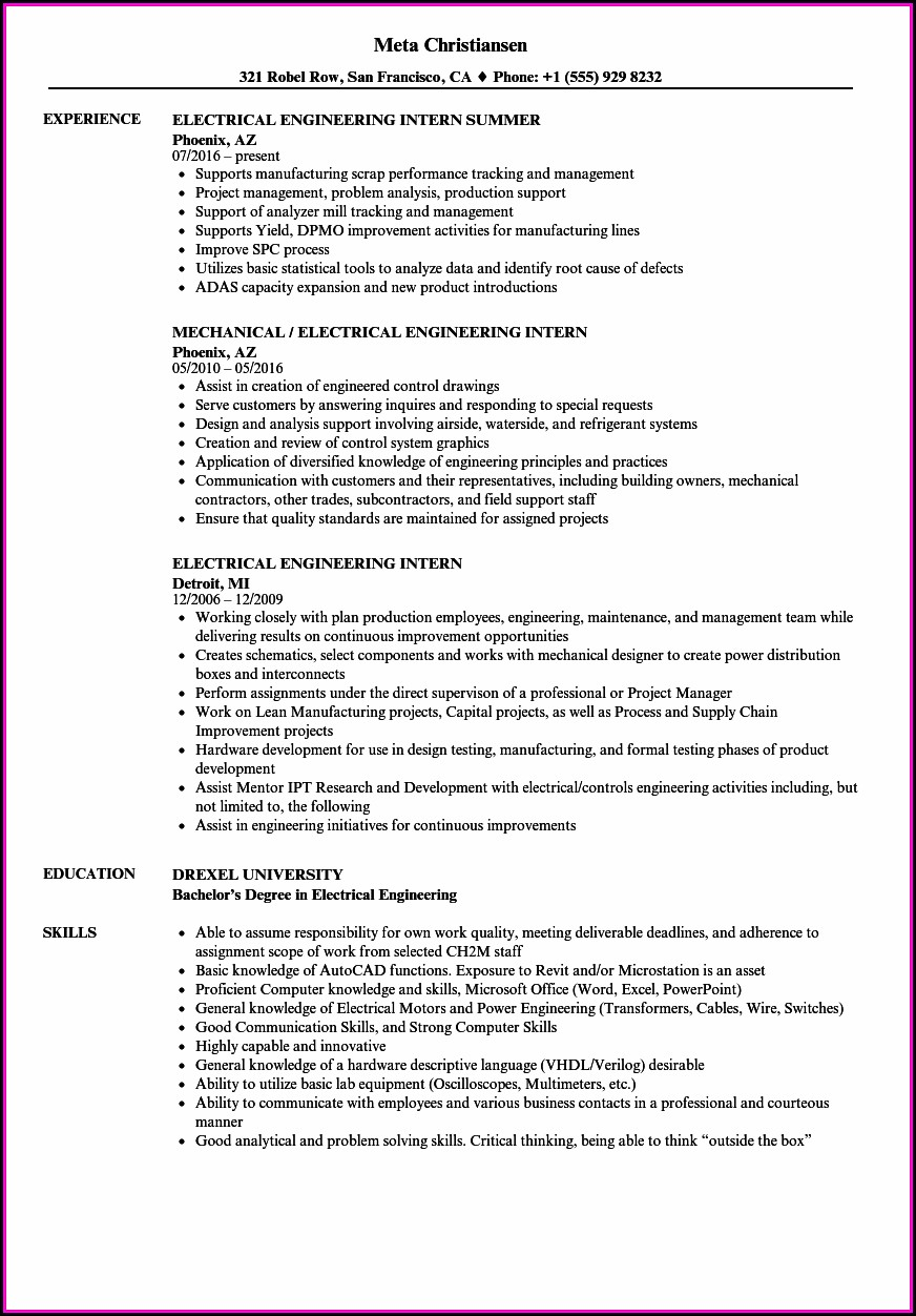 Electrical Resume Templates Australia