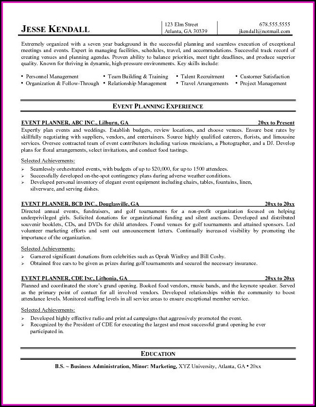 Event Coordinator Resume Template
