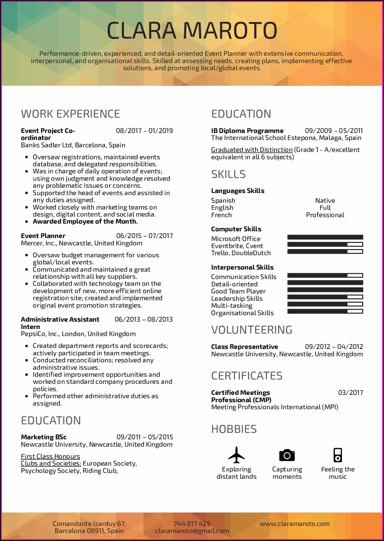 Event Planner Resume Template