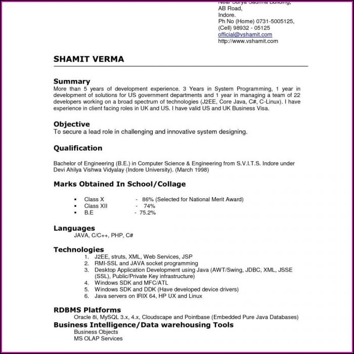 Examples Of Good Resume Templates