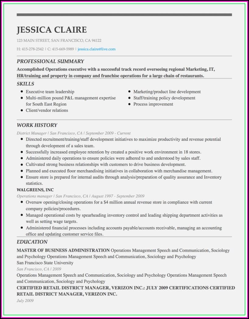 Executive Resume Builder Online