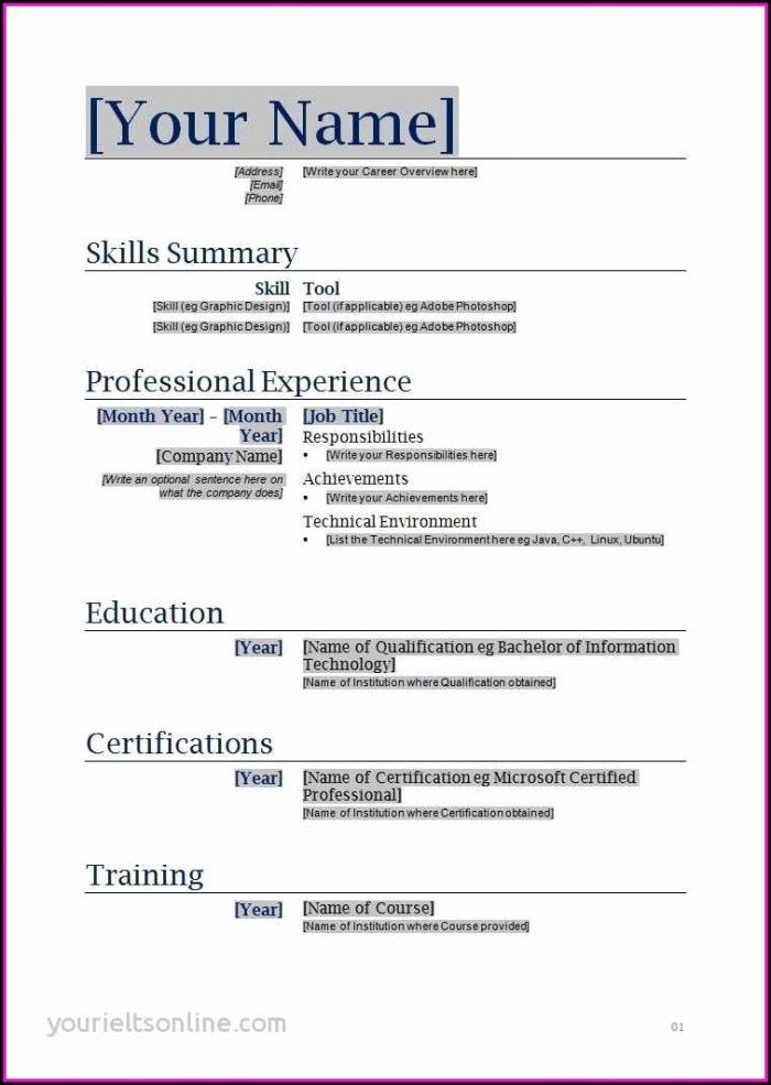 Fill In The Blanks Resume Worksheet