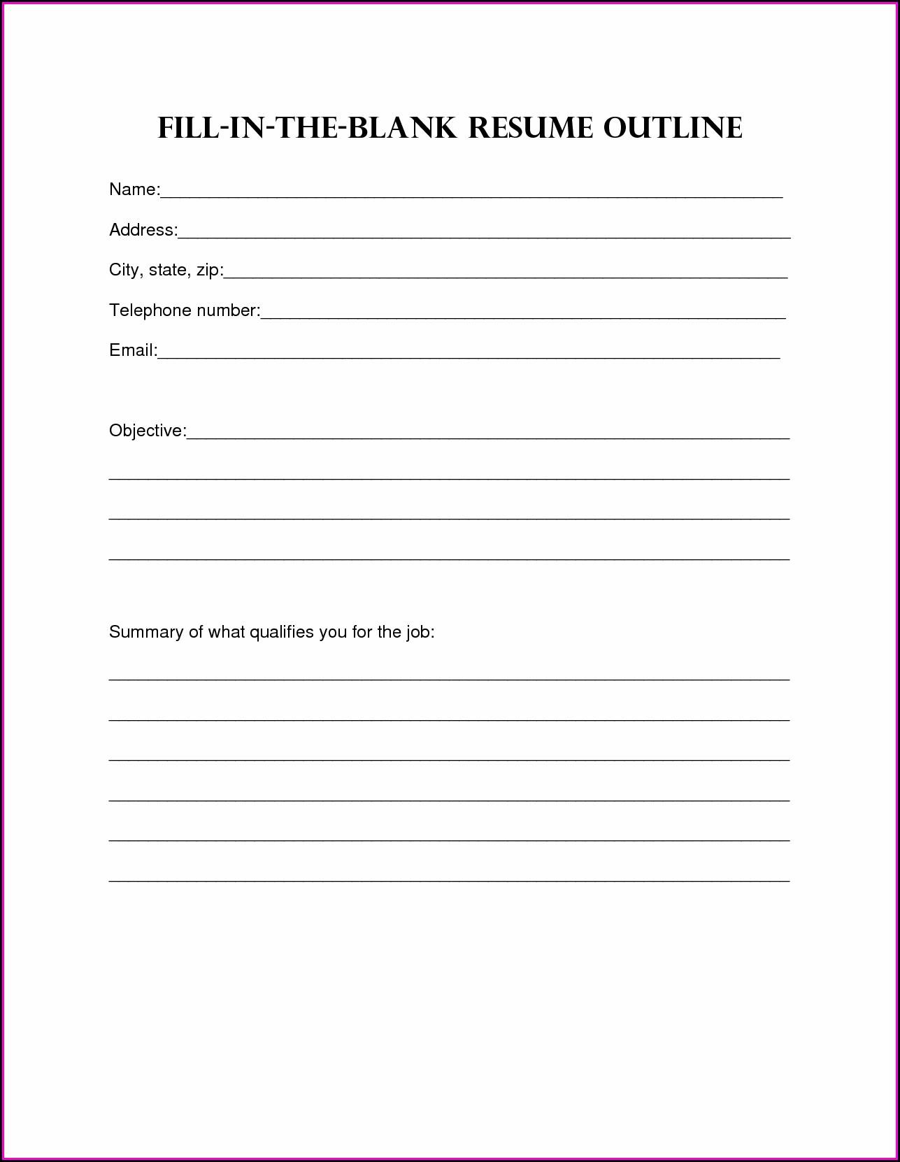 Fill In The Blanks Resume