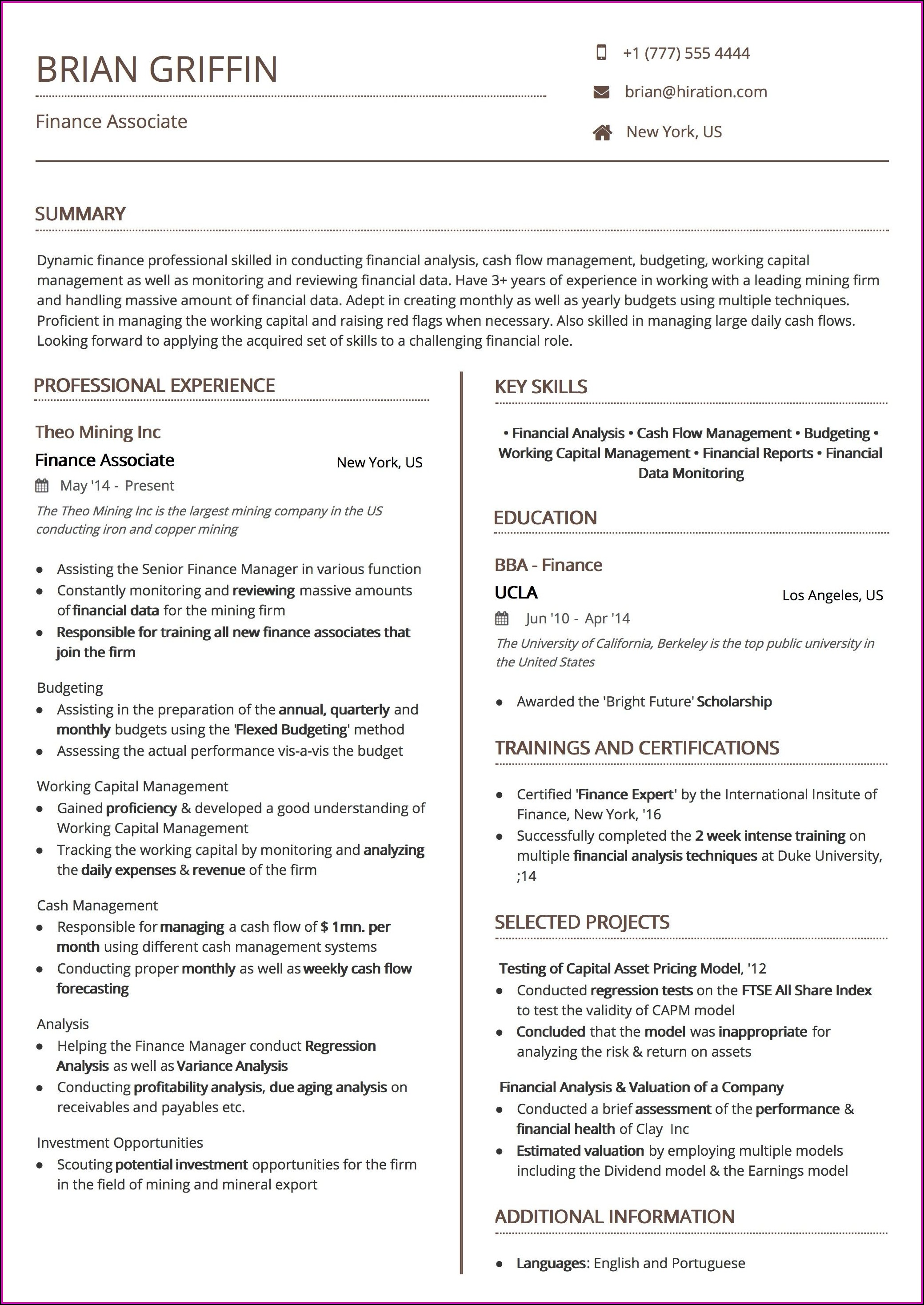 Free Ats Resume Template 2019
