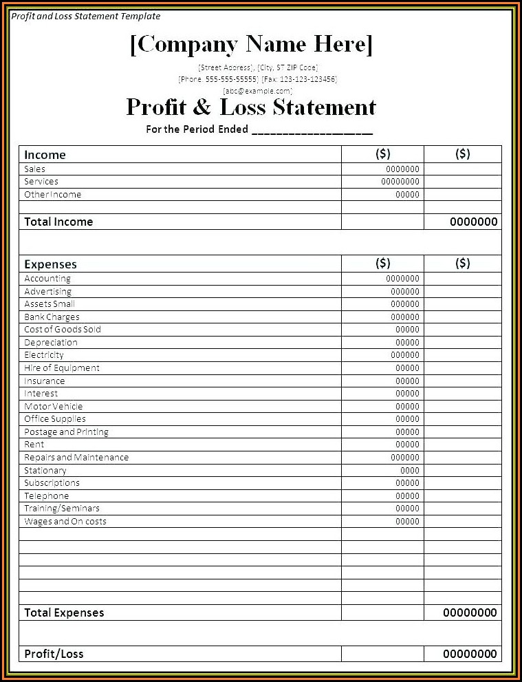 Restaurant Profit And Loss Account Format