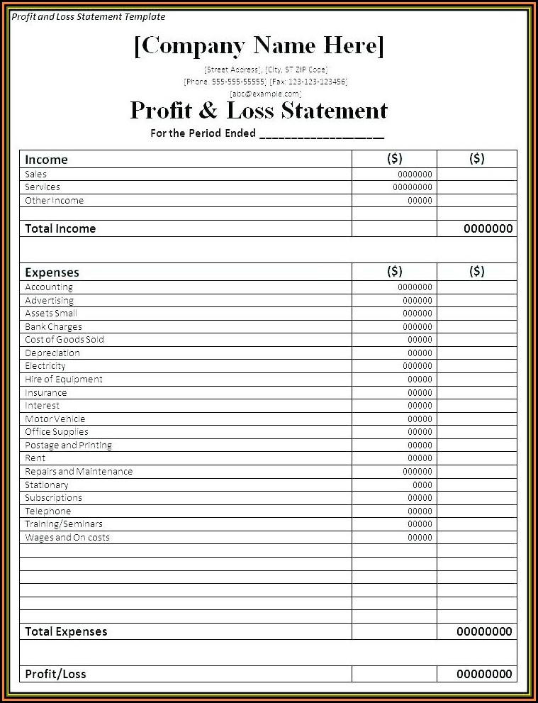 Restaurant Profit And Loss Account Format