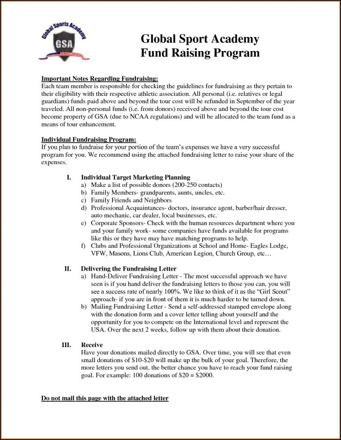 Sample Fundraising Letters For Sports Teams