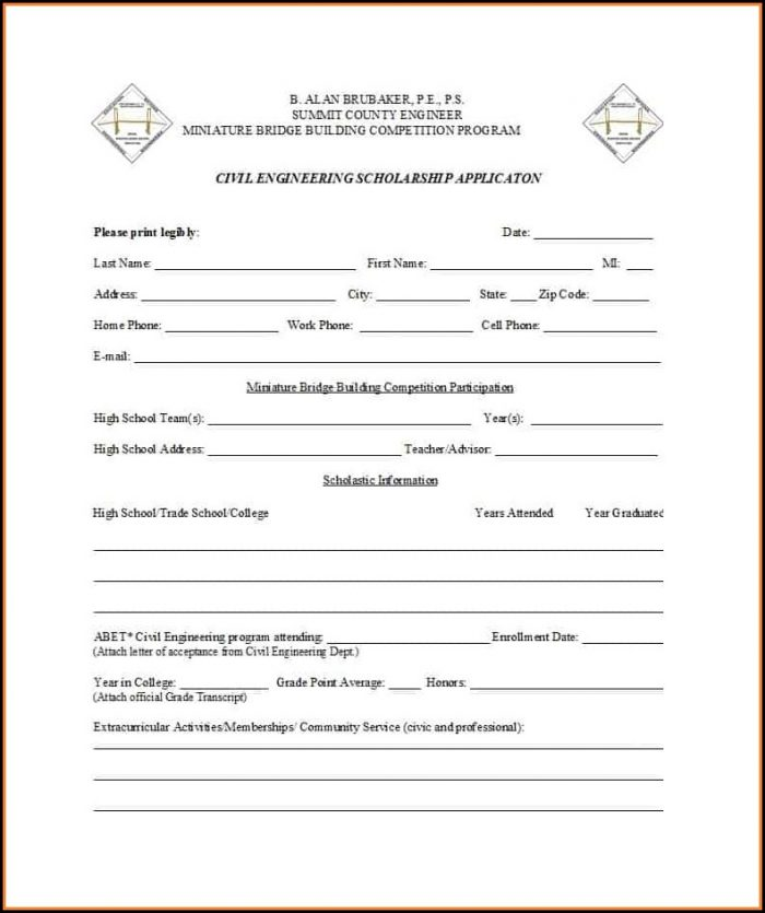 Scholarship Application Forms Templates