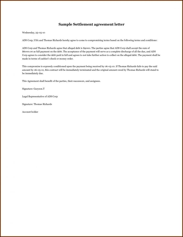 Settlement Agreement Cover Letter Template