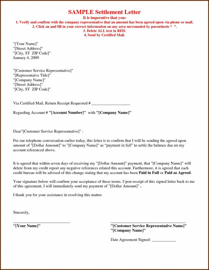 Settlement Agreement Letter Template