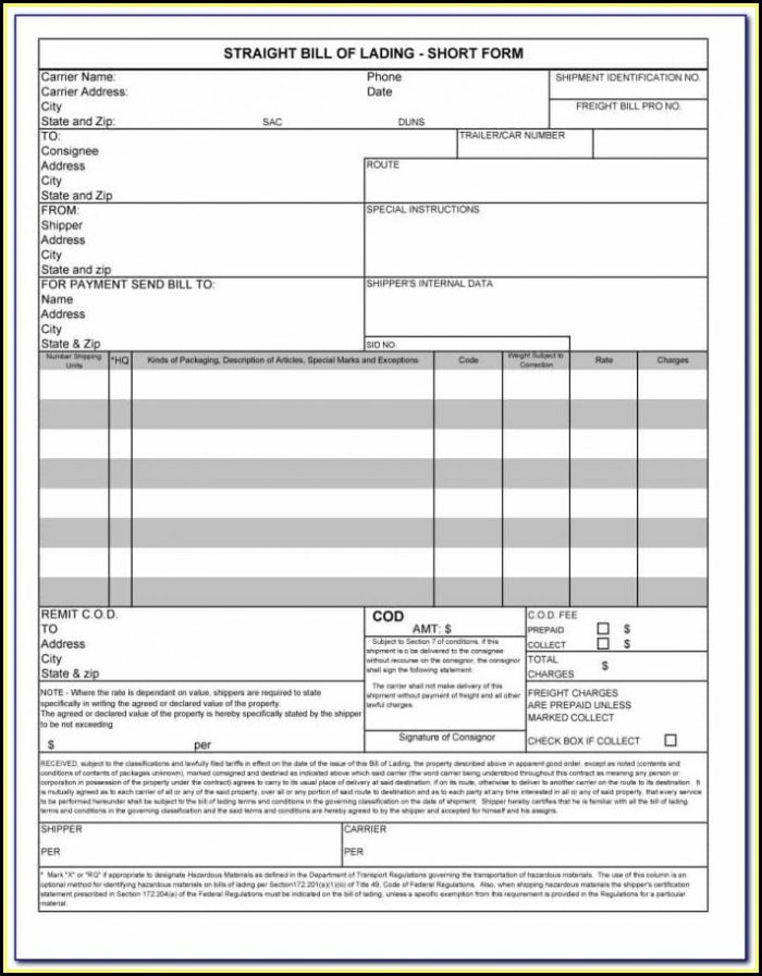 Short Form Blank Back Bill Of Lading Not Acceptable