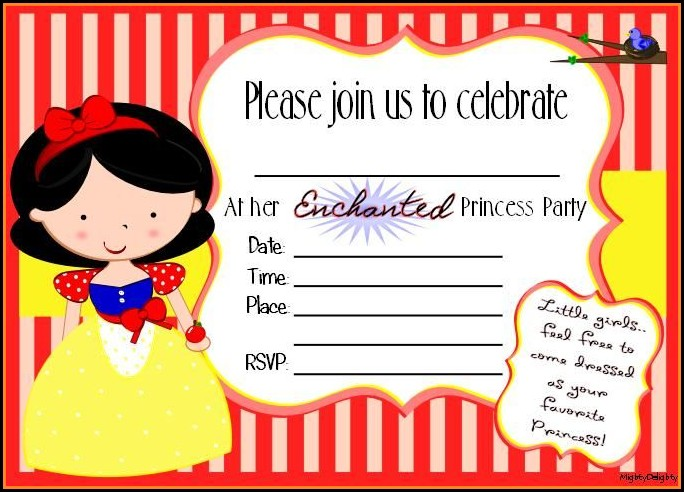 Snow White Party Invitation Template