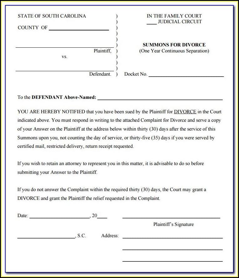 South Carolina Divorce Forms
