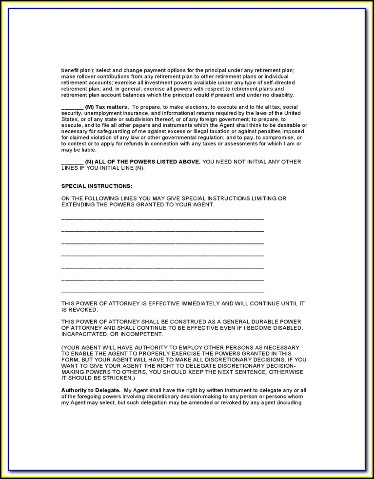 Springing Durable Power Of Attorney California Form