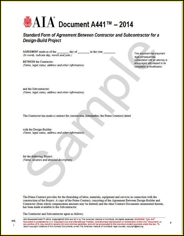 Standard Form Of Agreement Between Contractor And Subcontractor