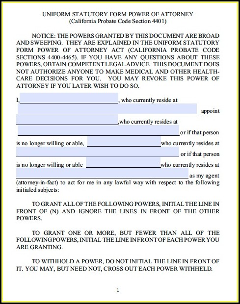 Statutory Durable Power Of Attorney California Form