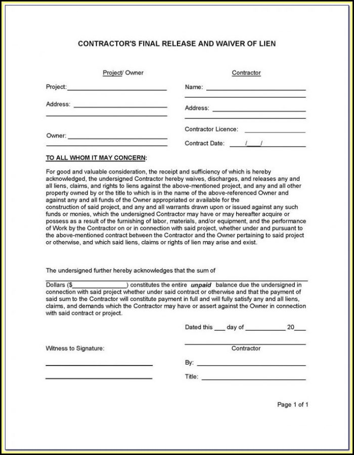 Subcontractor Lien Release Form Florida