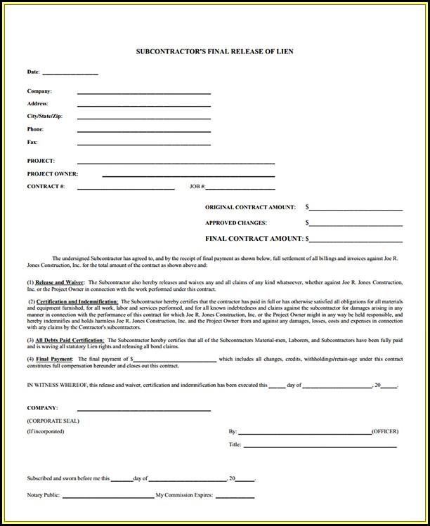Subcontractor Lien Release Form