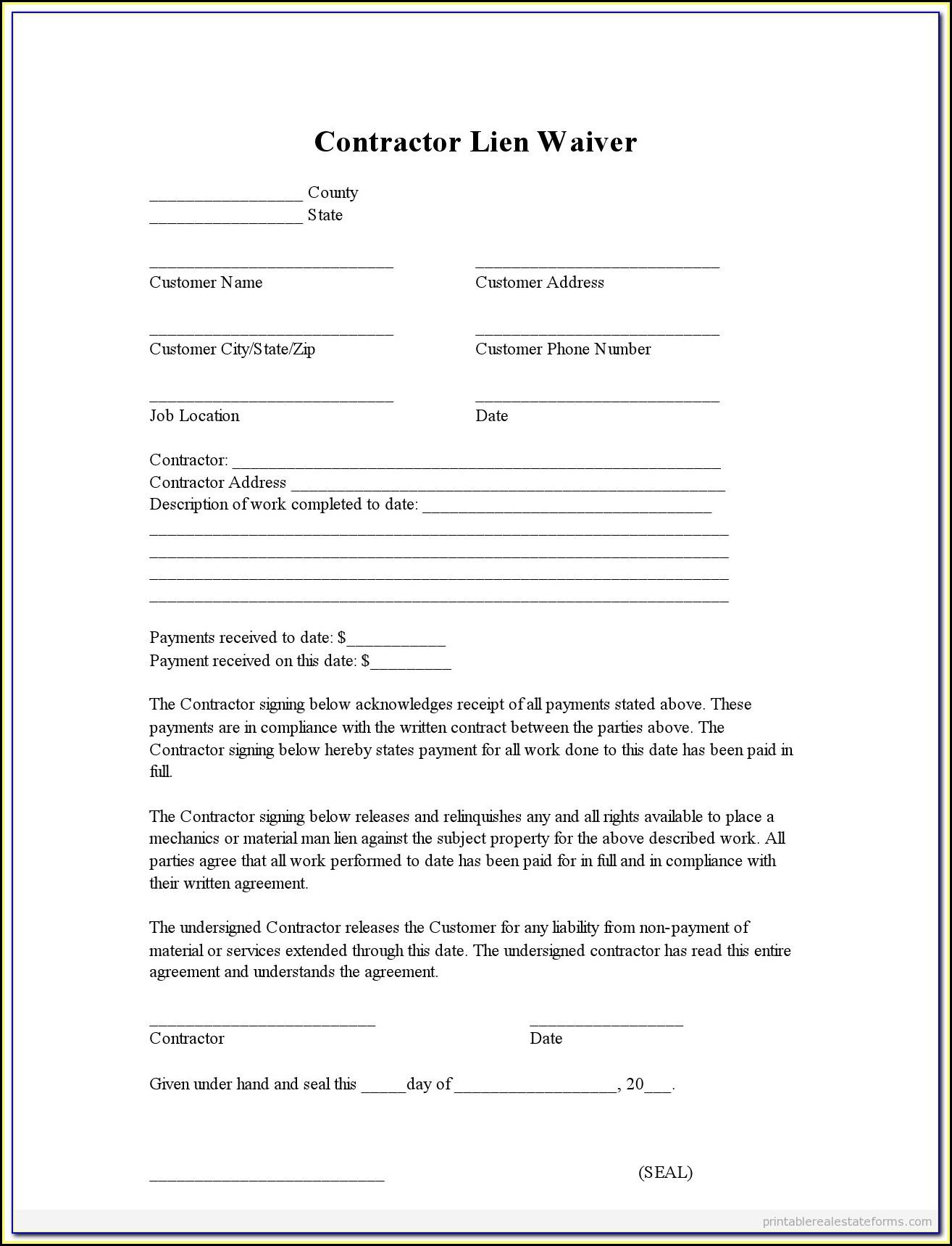 Subcontractor Lien Waiver Form North Carolina