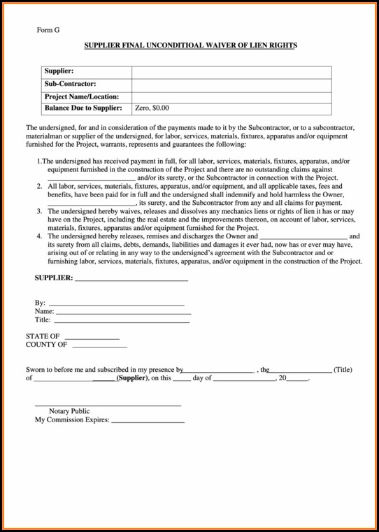 Supplier Final Lien Waiver Form
