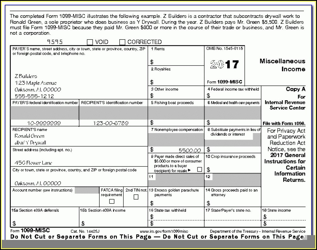 Tax Form 1099 Misc 2017