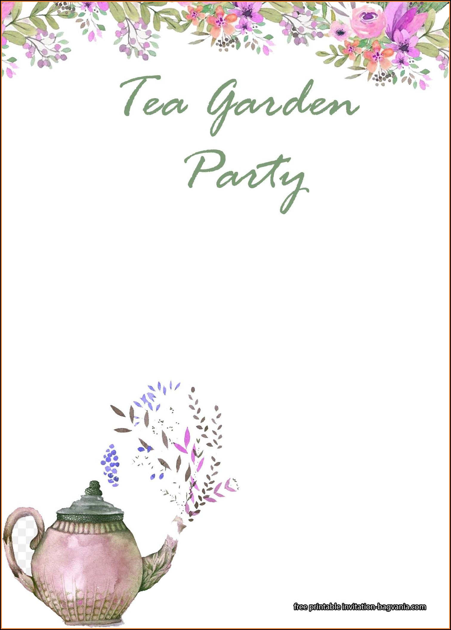 Tea Party Invitation Templates Free Download