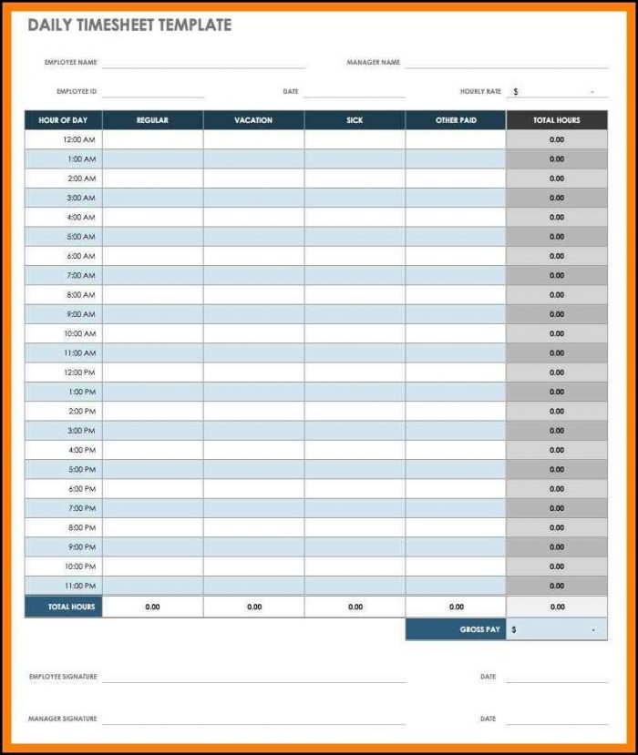 Template For Timesheets