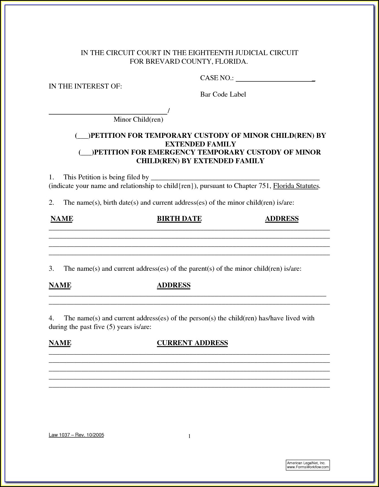 Temporary Child Custody Forms Kentucky