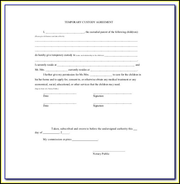 Temporary Child Custody Forms Maryland